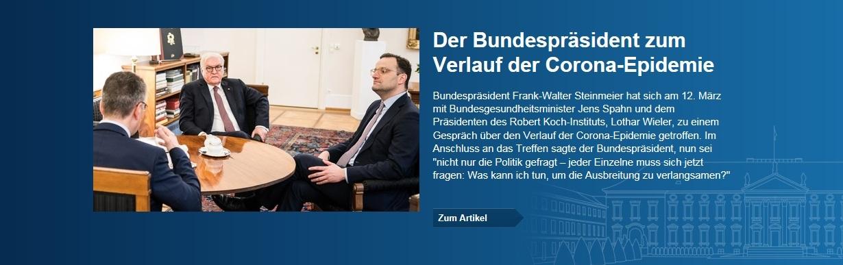 Der Bundespräsident Frank-Walter Steinmeier zum Verlauf der Corona-Epidemie - 12.03.2020