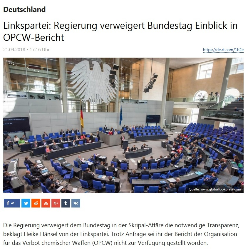 Deutschland - Linkspartei: Regierung verweigert Bundestag Einblick in OPCW-Bericht
