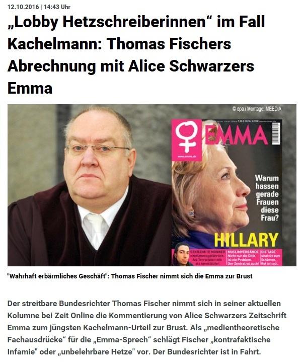 Lobby Hetzschreiberinnen im Fall Kachelmann: Thomas Fischers Abrechnung mit Alice Schwarzers Emma