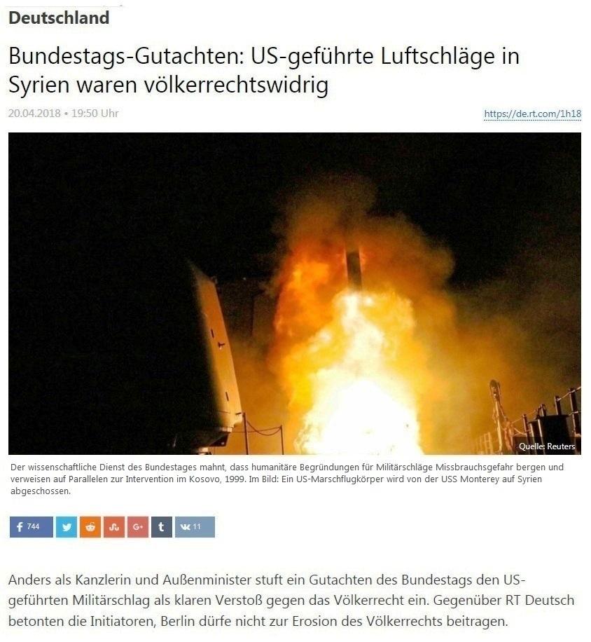 Deutschland - Bundestags-Gutachten: US-geführte Luftschläge in Syrien waren völkerrechtswidrig