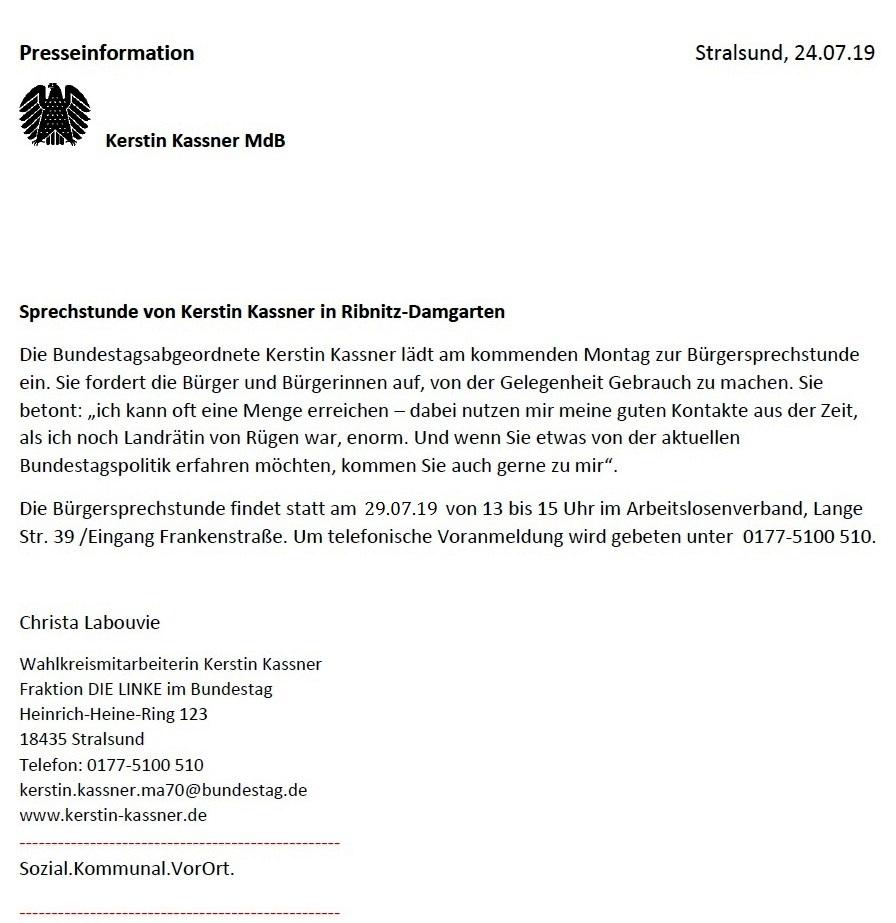 Presseinformation - Sprechstunde der Bundestagsabgeordneten Kerstin Kassner am Montag, den 29. Juli 2019, von 13 Uhr bis 15 Uhr in Ribnitz-Damgarten