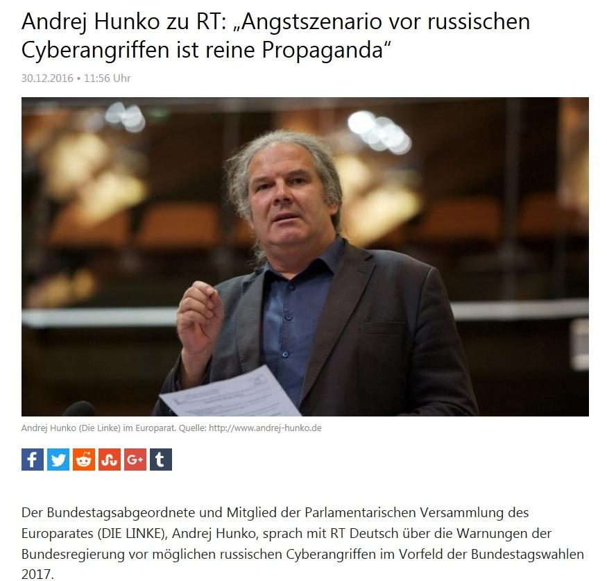 Andrej Hunko zu RT: Angstszenario vor russischen Cyberangriffen ist reine Propaganda