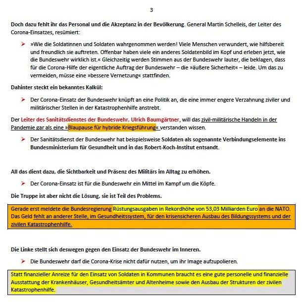Politik und Corona - Bundeswehr will ihr Image aufbessern - Der Einsatz von Soldaten in der Coronakrise soll die Akzeptanz für mehr Rüstung erhöhen, meint Christine Buchholz - Von Christine Buchholz - ND - 23.02.2021, 15:58 Uhr - Aus dem Posteingang von Siegfried Dienel vom 08.03.2021 - Abschnitt 3