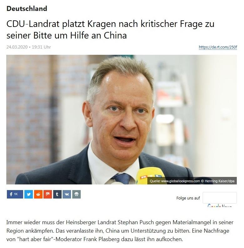 Deutschland - CDU-Landrat platzt Kragen nach kritischer Frage zu seiner Bitte um Hilfe an China - RT DEUTSCH - 24.03.2020