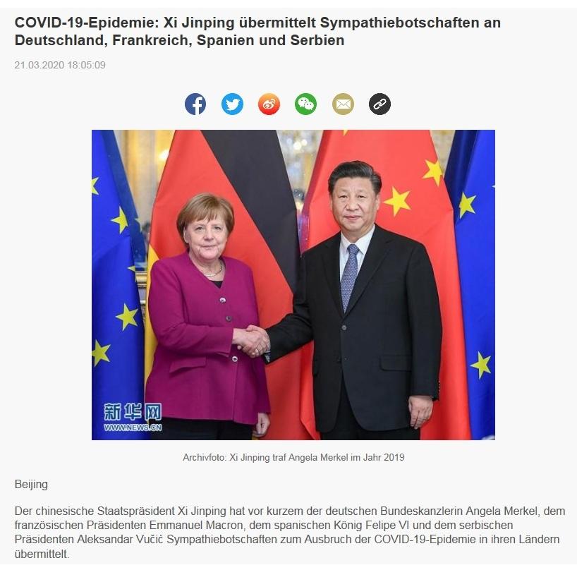 COVID-19-Epidemie: Xi Jinping übermittelt Sympathiebotschaften an Deutschland, Frankreich, Spanien und Serbien - China Radio International - CRI online Deutsch -  21.03.2020