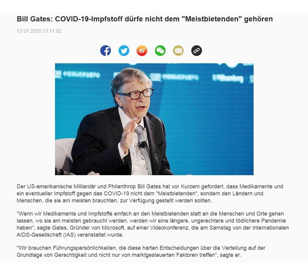 Bill Gates: COVID-19-Impfstoff dürfe nicht dem 'Meistbietenden' gehören - CRI online Deutsch - 13.07.2020