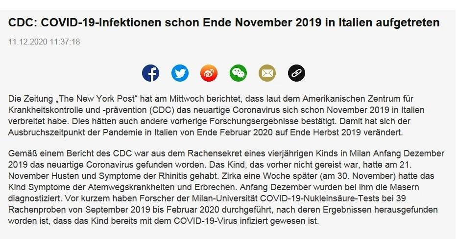 CDC: COVID-19-Infektionen schon Ende November 2019 in Italien aufgetreten -  CRI online Deutsch - 11.12.2020 11:37:18