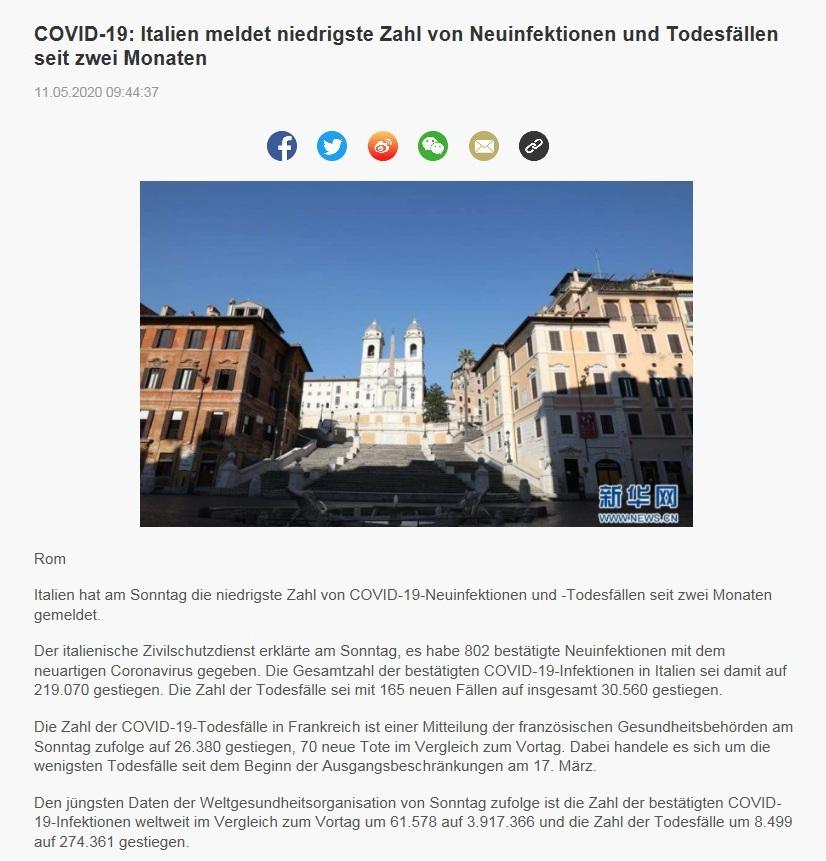 COVID-19: Italien meldet niedrigste Zahl von Neuinfektionen und Todesfällen seit zwei Monaten - CRI online Deutsch - 11.05.2020
