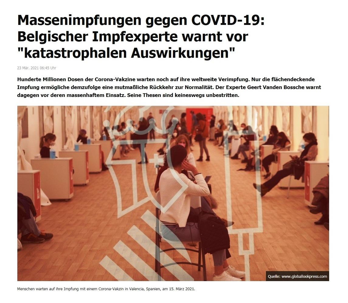 Massenimpfungen gegen COVID-19: Belgischer Impfexperte warnt vor 'katastrophalen Auswirkungen' -  RT DE - 23 Mär. 2021 06:45 Uhr