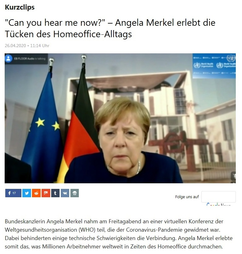 Kurzclips - 'Can you hear me now?' – Angela Merkel erlebt die Tücken des Homeoffice-Alltags - RT Deutsch - 26.04.2020