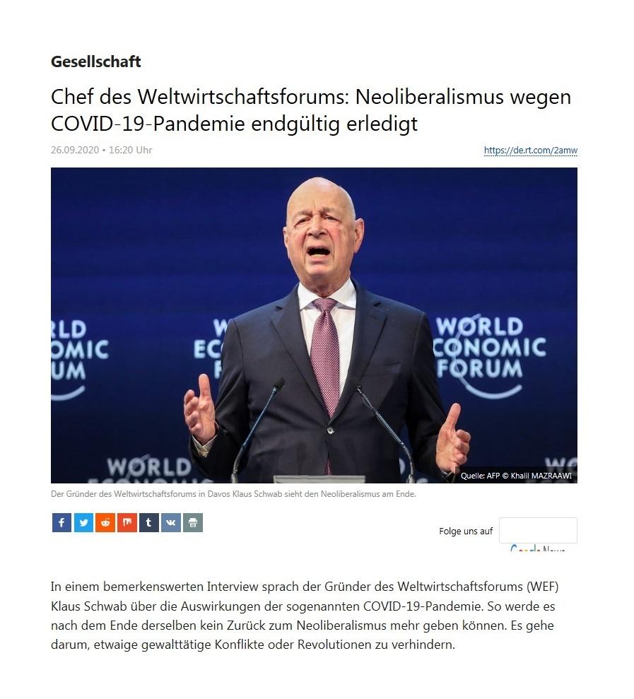 Gesellschaft - Chef des Weltwirtschaftsforums: Neoliberalismus wegen COVID-19-Pandemie endgültig erledigt - RT Deutsch - 26.09.2020