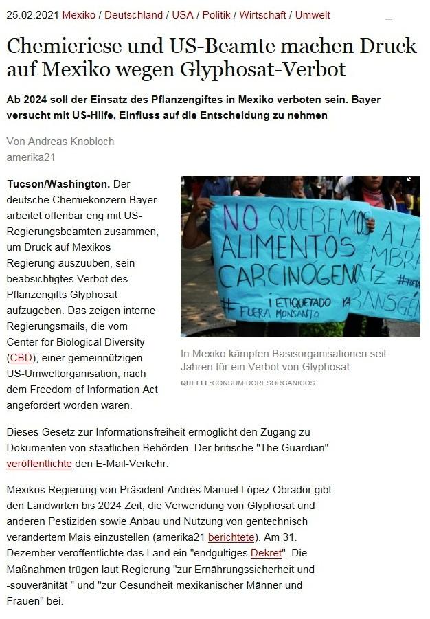 Chemieriese und US-Beamte machen Druck auf Mexiko wegen Glyphosat-Verbot - Ab 2024 soll der Einsatz des Pflanzengiftes in Mexiko verboten sein. Bayer versucht mit US-Hilfe, Einfluss auf die Entscheidung zu nehmen - Von Andreas Knobloch - amerika21 - Nachrichten und Analysen aus Lateinamerika - 25.02.2021