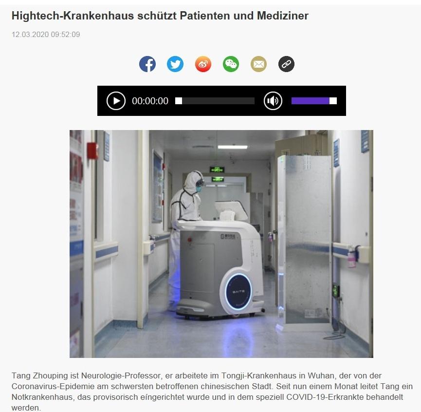 Hightech-Krankenhaus schützt Patienten und Mediziner - China Radio International - CRI online Deutsch -  12.03.2020