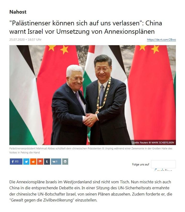 Nahost -  'Palästinenser können sich auf uns verlassen': China warnt Israel vor Umsetzung von Annexionsplänen  - RT Deutsch - 25.07.2020
