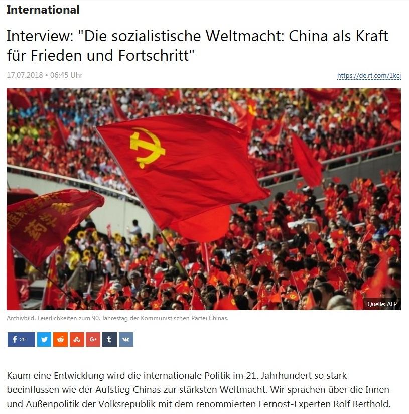 International - Interview: 'Die sozialistische Weltmacht: China als Kraft für Frieden und Fortschritt'