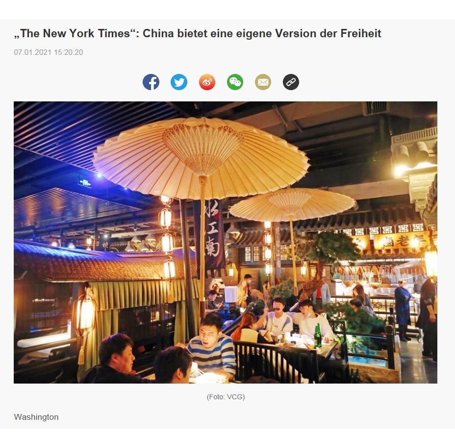 'The New York Times': China bietet eine eigene Version der Freiheit - CRI online Deutsch - 07.01.2021 15:20:20 - 1