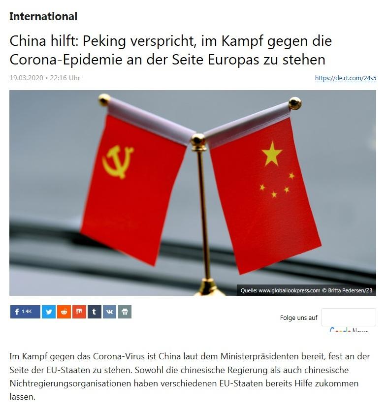 International - China hilft: Peking verspricht, im Kampf gegen die Corona-Epidemie an der Seite Europas zu stehen - RT Deutsch - 19.03.2020