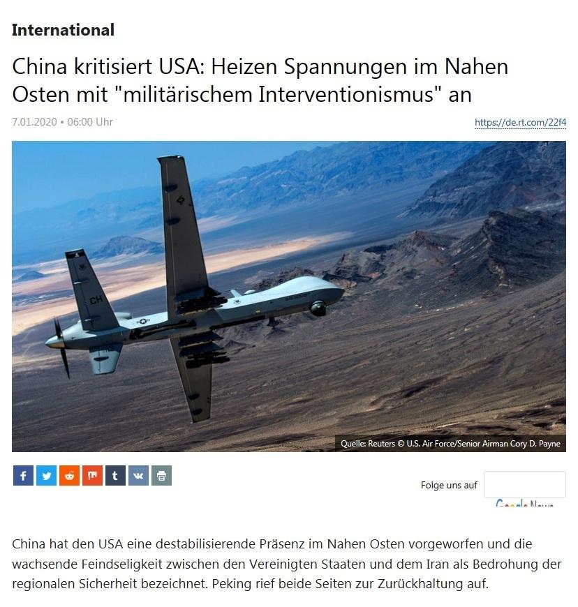 International - China kritisiert USA: Heizen Spannungen im Nahen Osten mit 'militärischem Interventionismus' an
