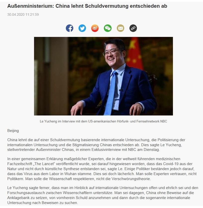 Außenministerium: China lehnt Schuldvermutung entschieden ab - CRI online Deutsch - 30.04.2020