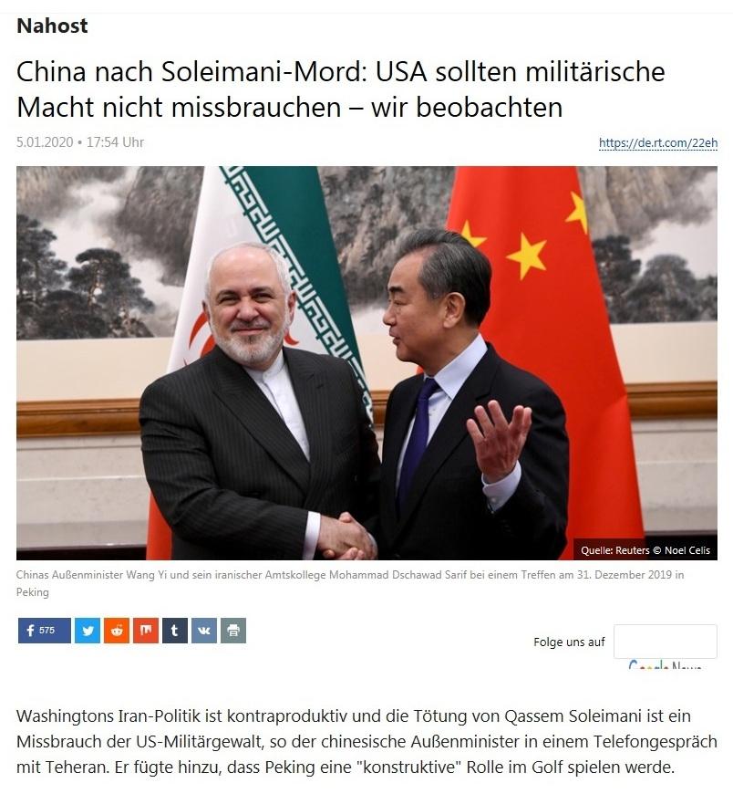 Nahost - China nach Soleimani-Mord: USA sollten militärische Macht nicht missbrauchen – wir beobachten