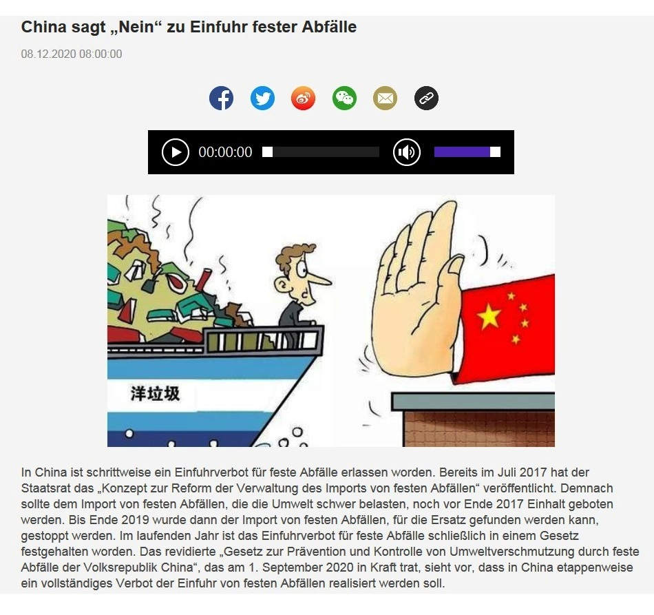 China sagt 'Nein' zu Einfuhr fester Abfälle - CRI online Deutsch - 08.12.2020 08:00:00