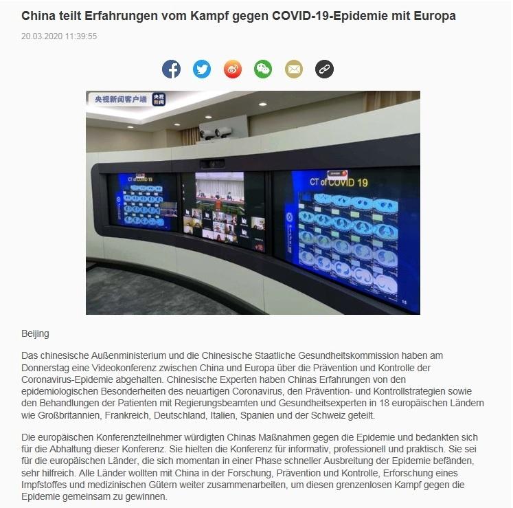 China teilt Erfahrungen vom Kampf gegen COVID-19-Epidemie mit Europa - China Radio International - CRI online Deutsch -  20.03.2020