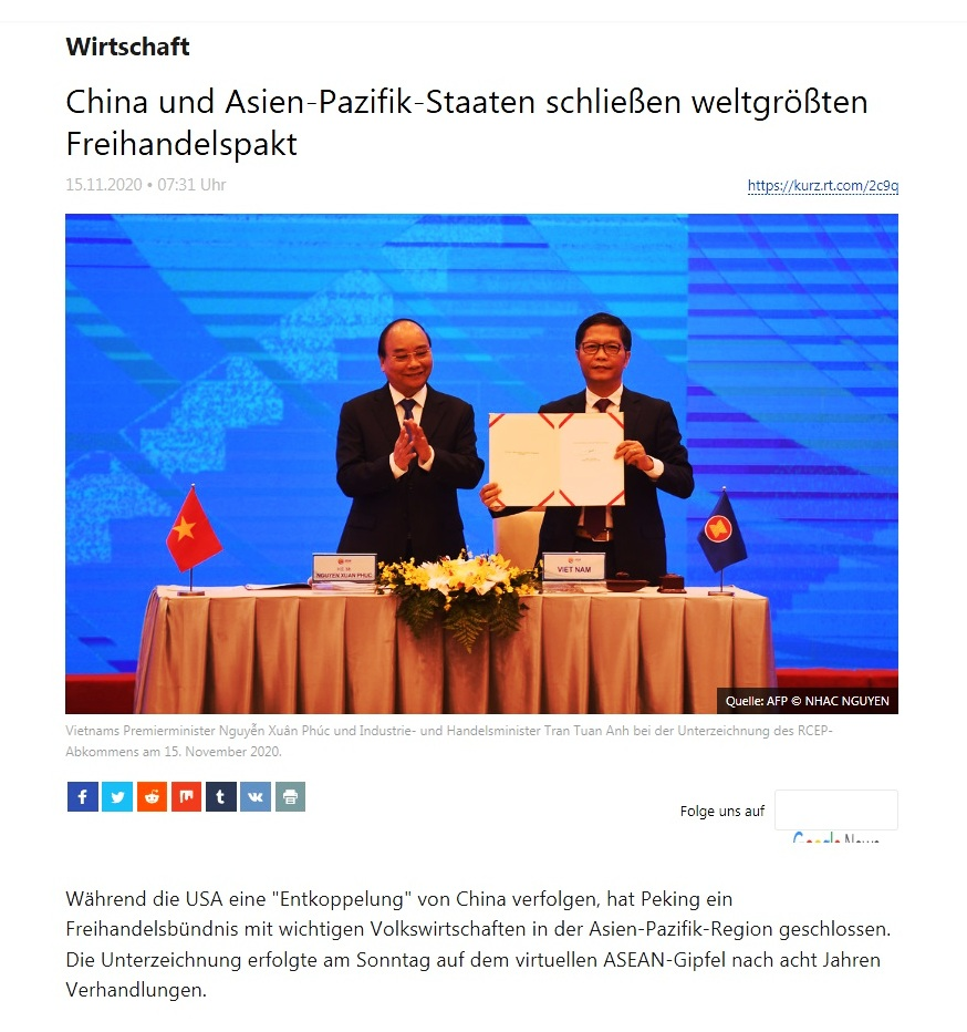 Wirtschaft - China und Asien-Pazifik-Staaten schließen weltgrößten Freihandelspakt - RT Deutsch - 15.11.2020