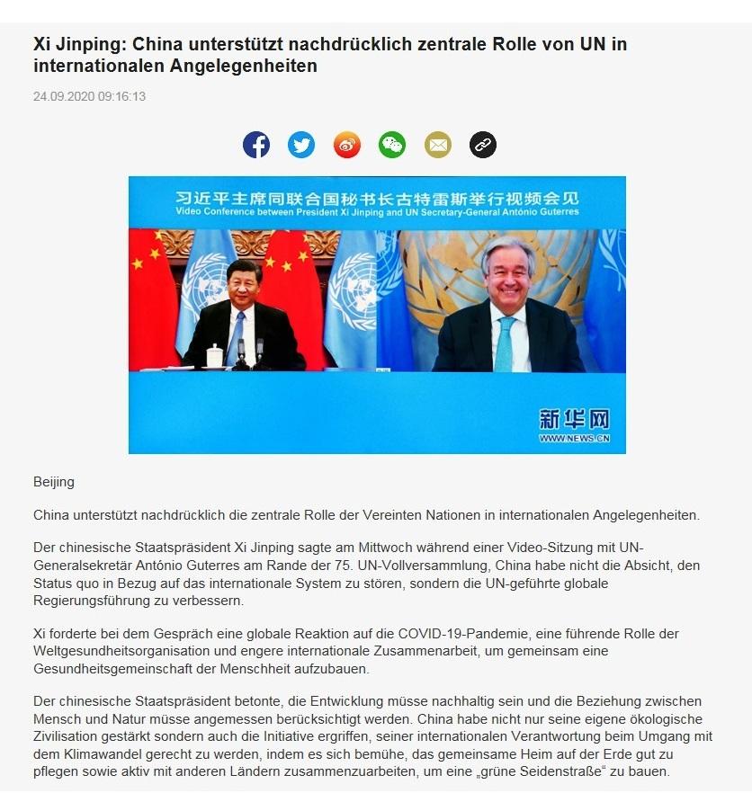 Xi Jinping: China unterstützt nachdrücklich zentrale Rolle von UN in internationalen Angelegenheiten - CRI online Deutsch - 24.09.2020