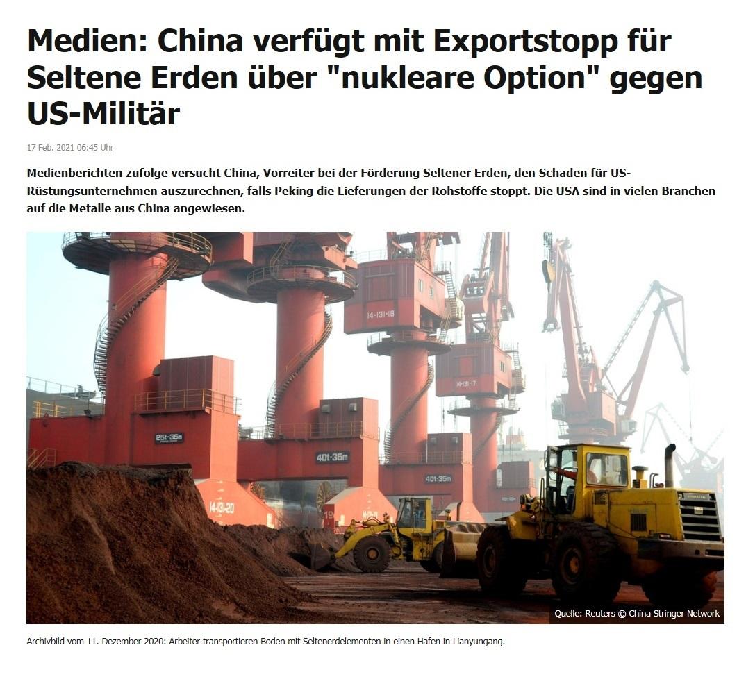 Medien: China verfügt mit Exportstopp für Seltene Erden über 'nukleare Option' gegen US-Militär - RT DE - 17 Feb. 2021 06:45 Uhr