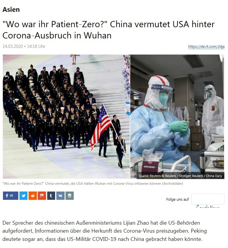 Asien - 'Wo war ihr Patient-Zero?' China vermutet USA hinter Corona-Ausbruch in Wuhan   - RT Deutsch - 14.03.2020