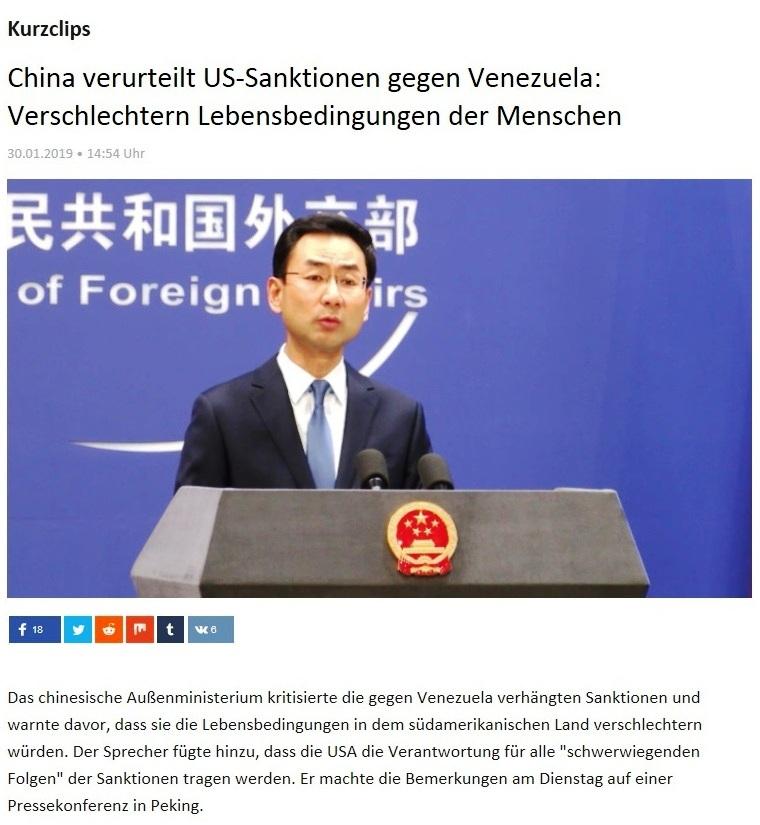 Kurzclips - China verurteilt US-Sanktionen gegen Venezuela: Verschlechtern Lebensbedingungen der Menschen