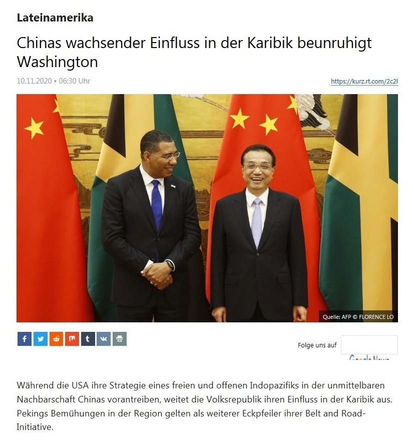 Lateinamerika - Chinas wachsender Einfluss in der Karibik beunruhigt Washington  - RT Deutsch - 10.11.2020