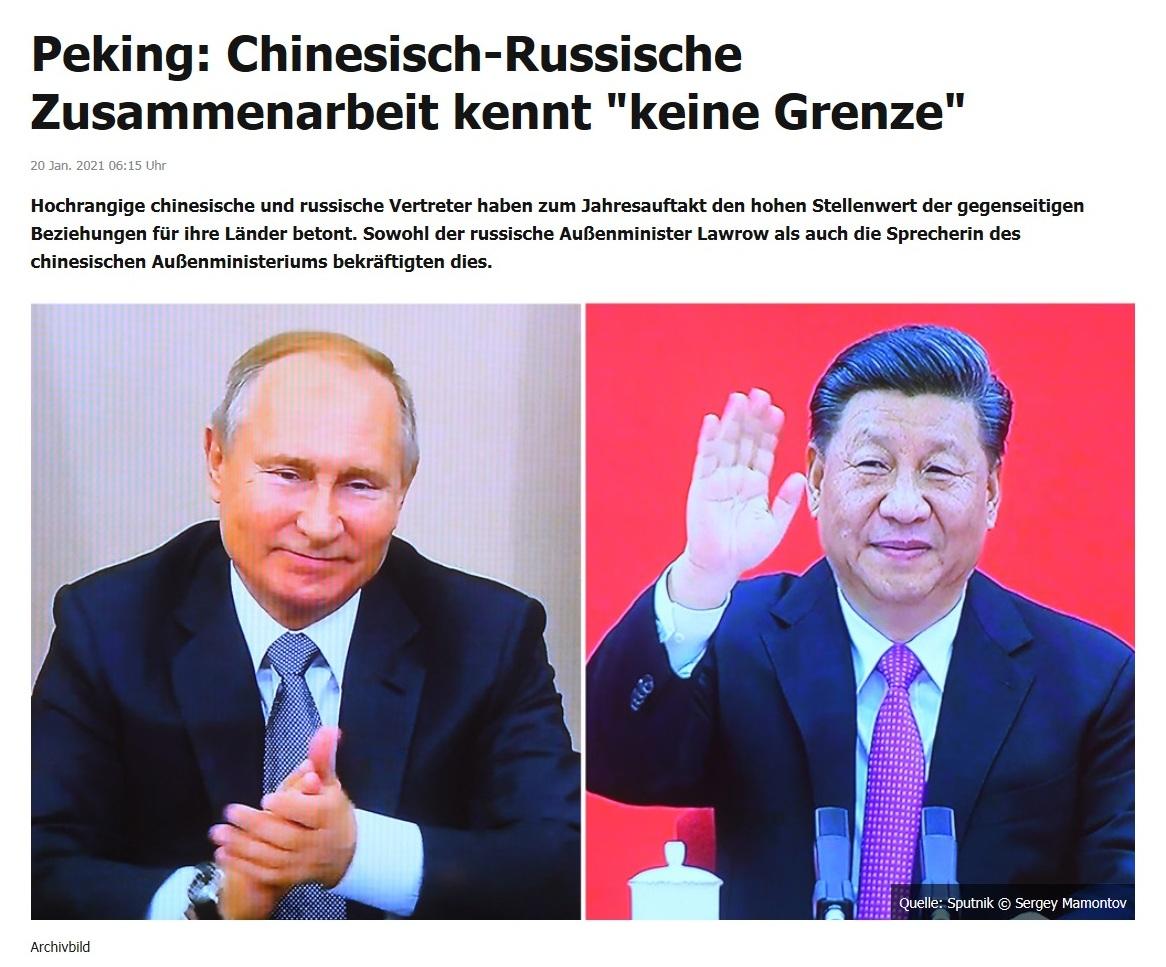 Peking: Chinesisch-Russische Zusammenarbeit kennt 'keine Grenze' -  RT DE -  20 Jan. 2021 06:15 Uhr