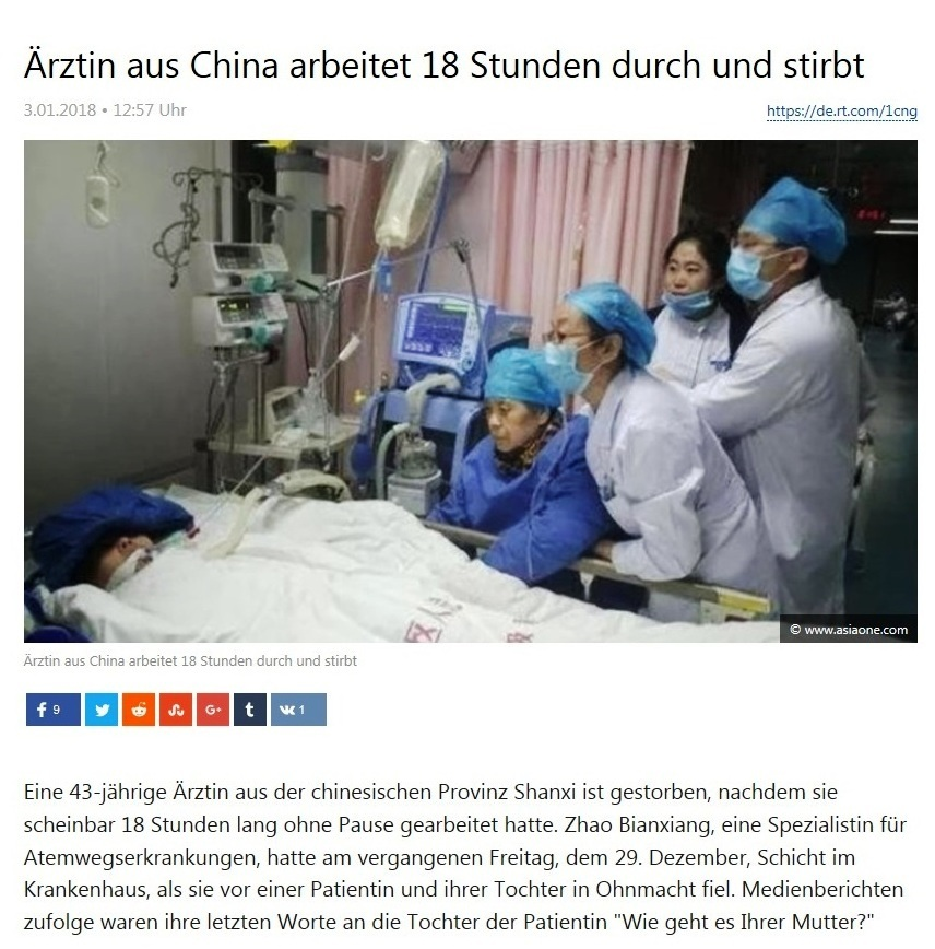 Ärztin aus China arbeitet 18 Stunden durch und stirbt