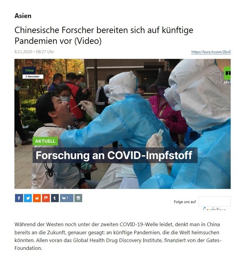 Asien - Chinesische Forscher bereiten sich auf künftige Pandemien vor (Video) - RT Deutsch - 08.11.2020