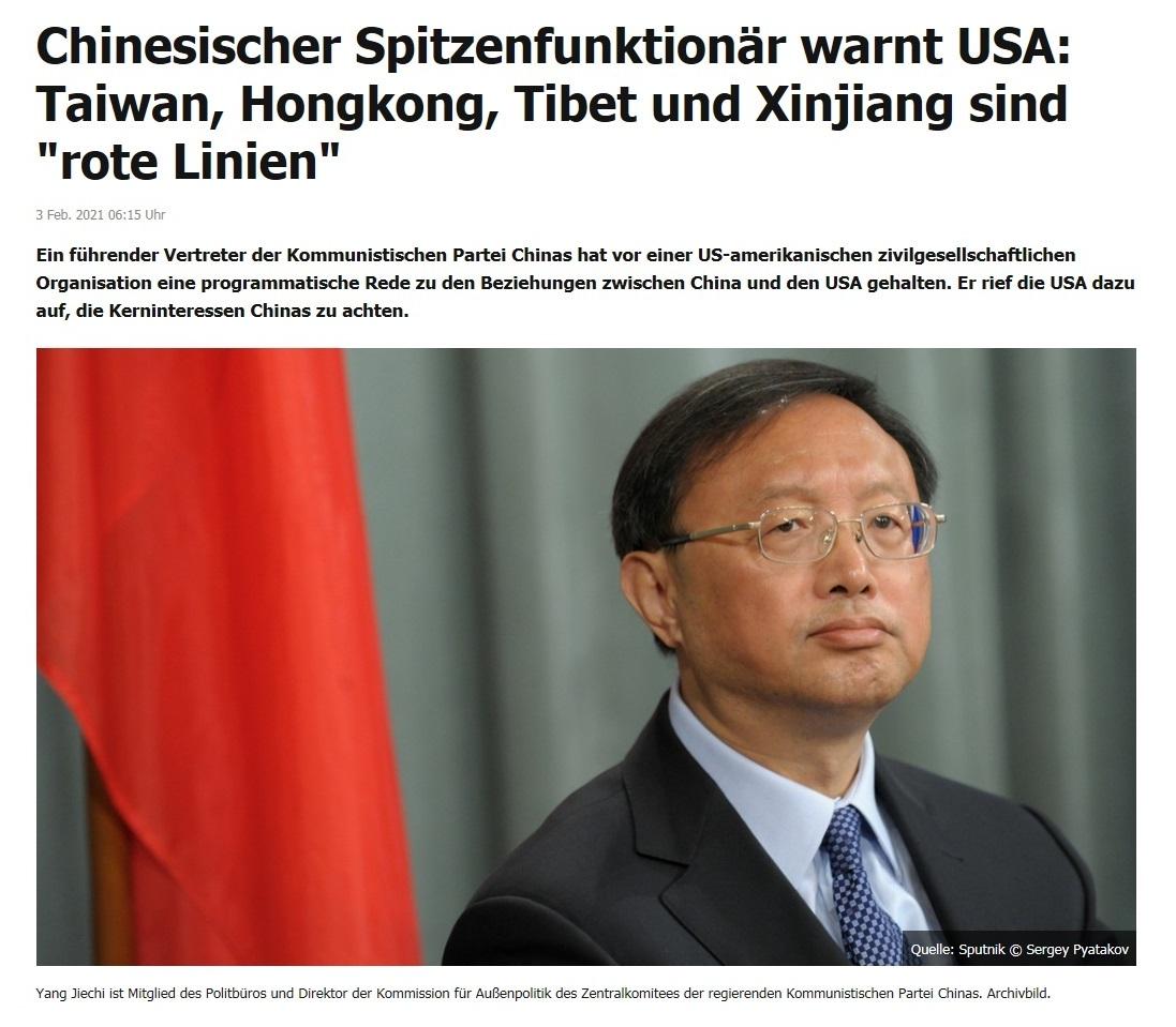 Chinesischer Spitzenfunktionär warnt USA: Taiwan, Hongkong, Tibet und Xinjiang sind 'rote Linien' - RT DE - 3 Feb. 2021 06:15 Uhr