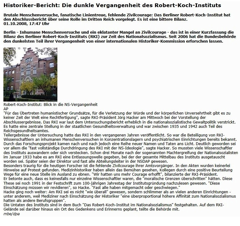 Aus dem Posteingang - Email vom 16.04.2020 von Christa Labouvie - Artikelempfehlung: Nationalsozialismus - Die dunkle Vergangenheit des RKI - Historischer Bericht RKI