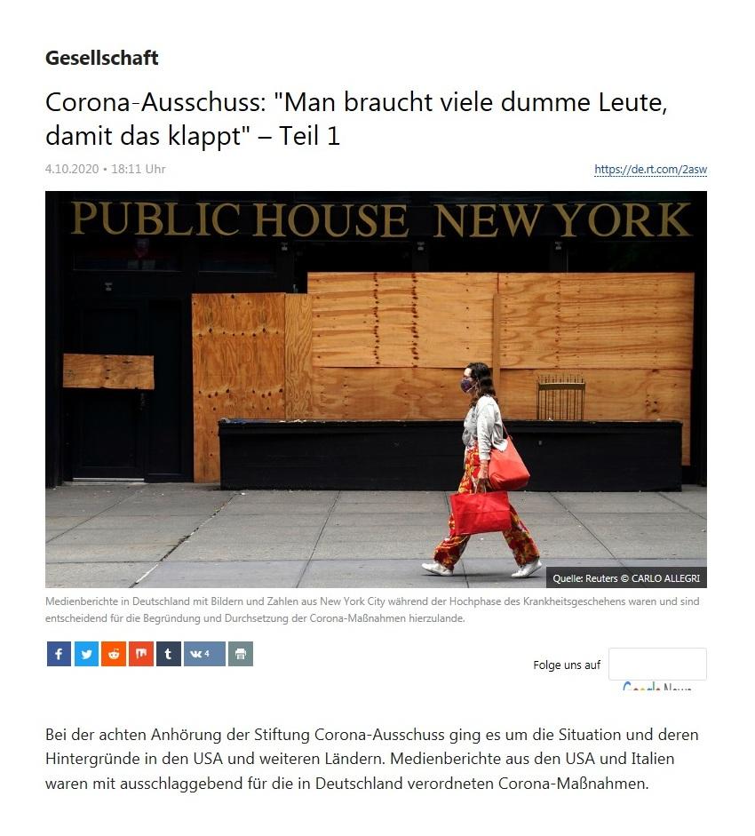 Gesellschaft - Corona-Ausschuss: 'Man braucht viele dumme Leute, damit das klappt' – Teil 1  - RT Deutsch - 04.10.2020