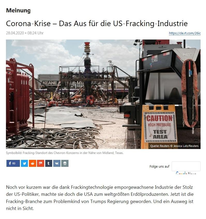 Meinung - Corona-Krise – Das Aus für die US-Fracking-Industrie - RT Deutsch - 28.04.2020
