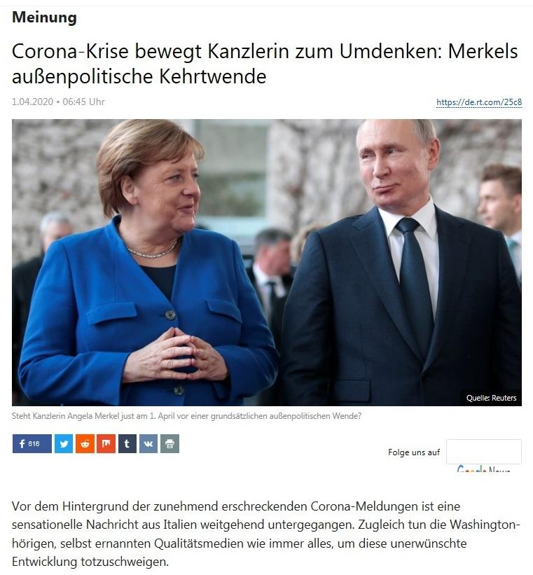 Meinung - Corona-Krise bewegt Kanzlerin zum Umdenken: Merkels außenpolitische Kehrtwende - RT DEUTSCH - 1.04.2020