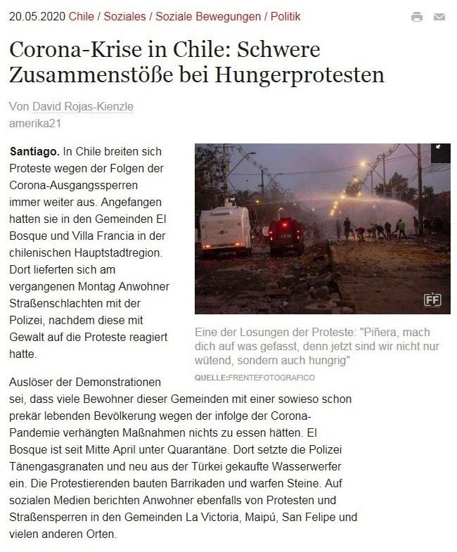 Corona-Krise in Chile: Schwere Zusammenstöße bei Hungerprotesten - amerika21 - Nachrichten und Analysen aus Lateinamerika - 20.05.2020