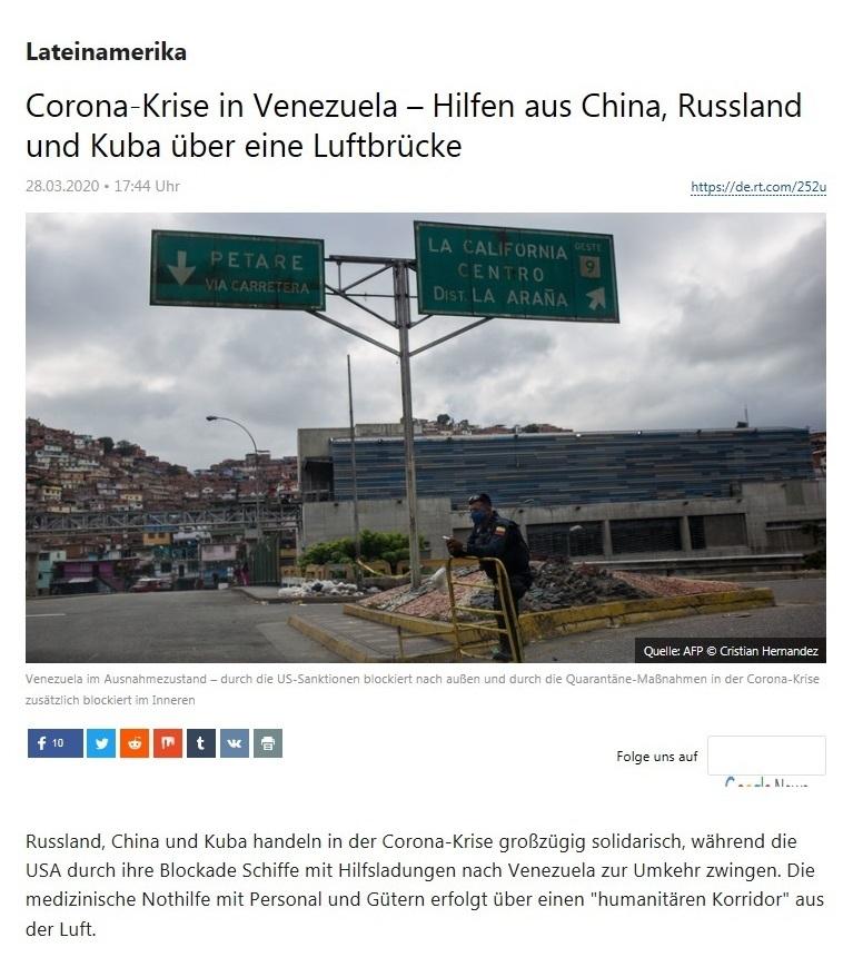 Lateinamerika - Corona-Krise in Venezuela – Hilfen aus China, Russland und Kuba über eine Luftbrücke - RT Deutsch - 28.03.2020