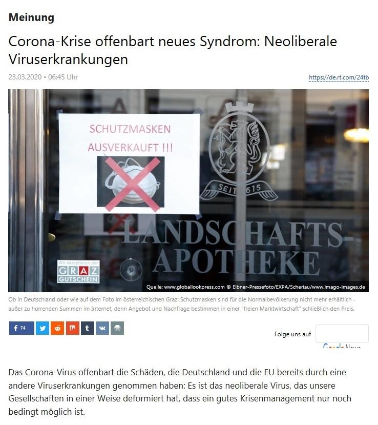 Meinung - Corona-Krise offenbart neues Syndrom: Neoliberale Viruserkrankungen  - RT Deutsch - 23.03.2020