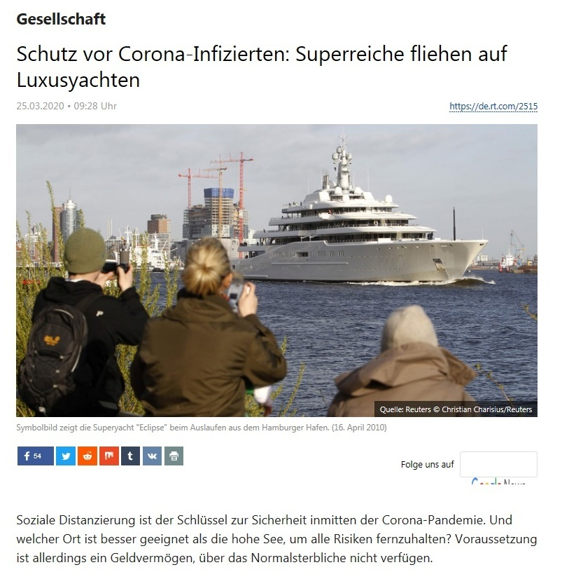 Gesellschaft - Schutz vor Corona-Infizierten: Superreiche fliehen auf Luxusyachten  - RT Deutsch - 25.03.2020
