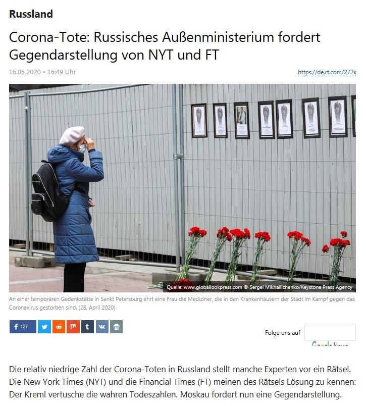Russland - Corona-Tote: Russisches Außenministerium fordert Gegendarstellung von NYT und FT - RT Deutsch - 16.05.2020