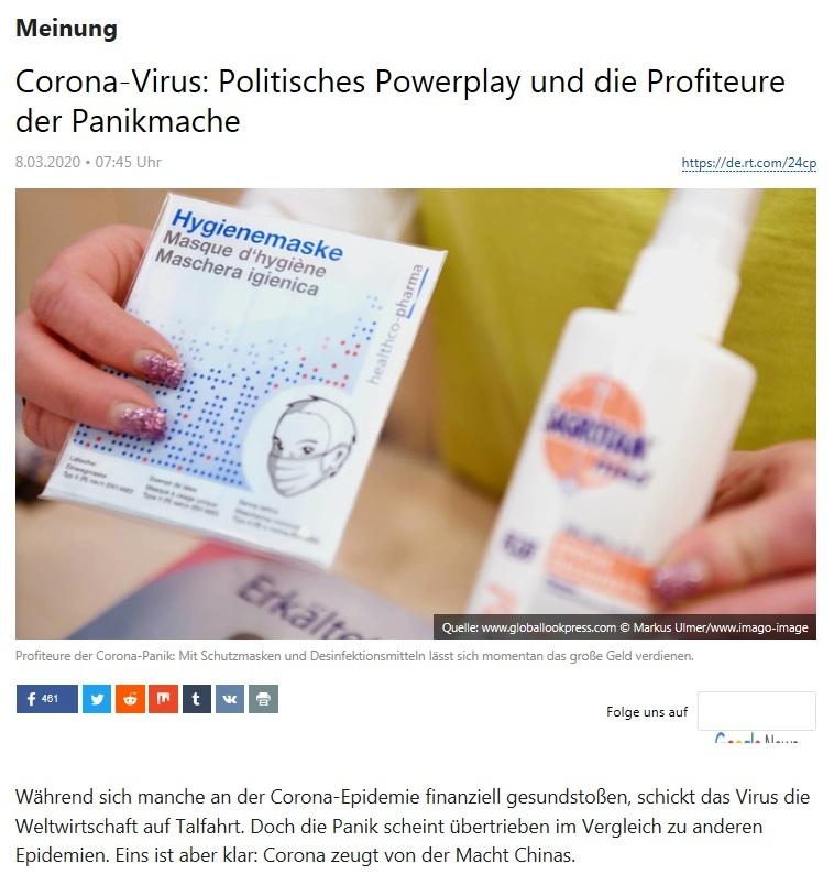 Meinung - Corona-Virus: Politisches Powerplay und die Profiteure der Panikmache - RT DEUTSCH - 8.03.2020