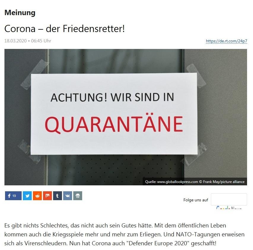 Meinung - Corona – der Friedensretter! - RT Deutsch - 18.03.2020