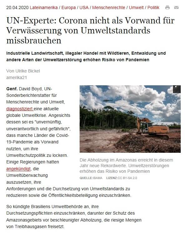 UN-Experte: Corona nicht als Vorwand für Verwässerung von Umweltstandards missbrauchen - amerika21 - Nachrichten und Analysen aus Lateinamerika - 20.04.2020