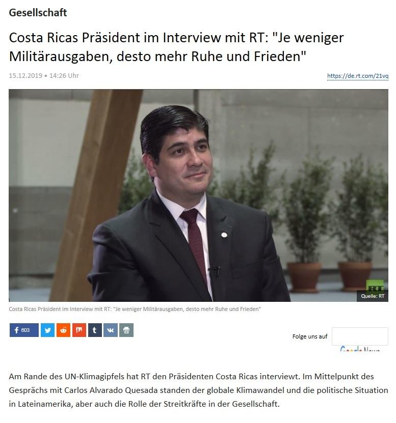 Gesellschaft - Costa Ricas Präsident im Interview mit RT: 'Je weniger Militärausgaben, desto mehr Ruhe und Frieden'