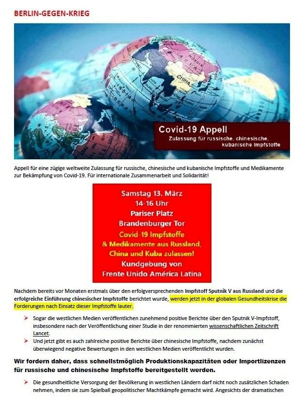 Covid-19 Appell - Zulassung für russische, chinesische, kubanische Impfstoffe - BERLIN-GEGEN-KRIEG.DE - Aus dem Posteingang von Siegfried Dienel vom 18.03.2021 - Abschnitt 1